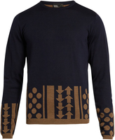 Kolor Geometric-intarsia crew-neck wool sweater