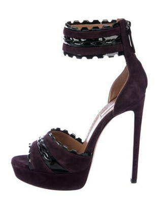 Alaia Suede Scalloped Accent Sandals Purple
