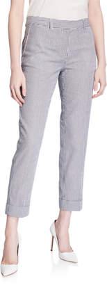 Tahari ASL Striped Seersucker Ankle-Cuff Pants