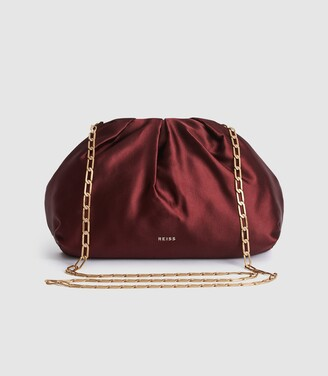 Reiss Ellena - Satin Pouch Clutch in Plum