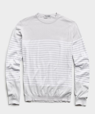 John Smedley Sweaters John Smedley Sea Island Cotton Stripped Sweater in Cloud