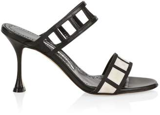 Manolo Blahnik Abey Cutout Double-Strap Sandals