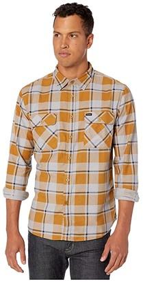 Brixton Bowery Lightweight Long Sleeve Flannel (Aluminum/Maize) Men's Clothing