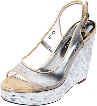 Chanel PVC Metallic Silver Textured Wedge Heel Peep Toe Slingback Sandals Size 38