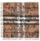 Burberry Women's Sketchbook Doodle Mega Check Silk & Cotton Scarf