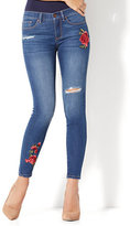 New York & Co. Soho Jeans - Rose Patch Destroyed Ankle Legging - Force Blue Wash