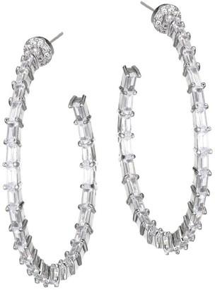 Fallon Crystal Baguette Hoop Earrings