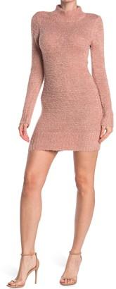 Planet Gold Mock Neck Eyelash Knit Sweater Dress