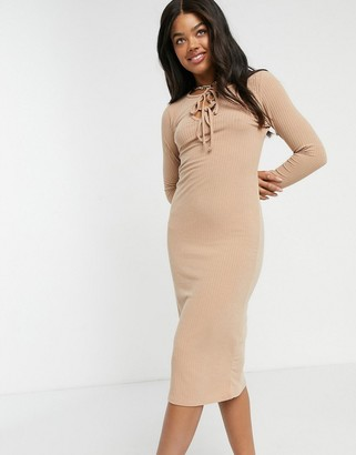 New Look tie-front ribbed midi dress in camel