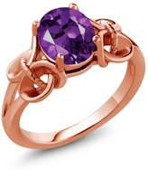 Gem Stone King 1.50 Ct Oval Amethyst Rose Gold Plated Sterling Silver Ring