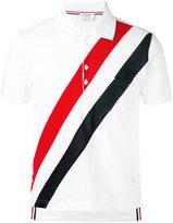 Thom Browne diagonal stripe polo shirt - men - Cotton - 1