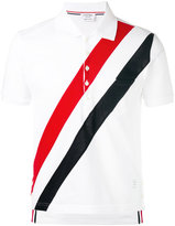 Thom Browne Short Sleeve Pocket Polo With Red, White And Blue Diagonal Stripe In Fine Mercerized Pique