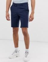 Asos Design DESIGN slim mid shorts in navy seersucker with check