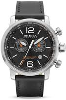 Brera OROLOGI Dinamico Stainless Steel Watch with Black Leather Strap, 44mm