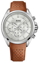 HUGO BOSS Mens Chronograph Watch with Perforated Leather Strap