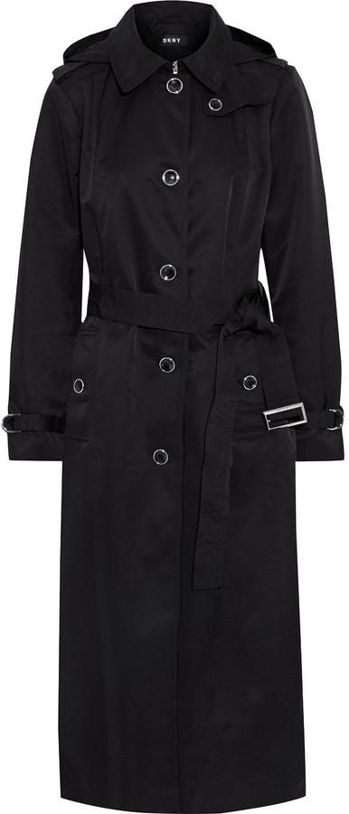 DKNY Shell Hooded Trench Coat