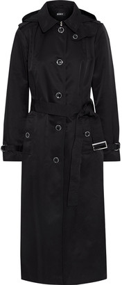 DKNY Belted Shell Hooded Trench Coat