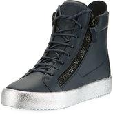 Giuseppe Zanotti High Metallic Platform Sneaker, Blue