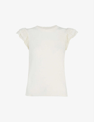 Whistles Pointelle frill-sleeve cotton top