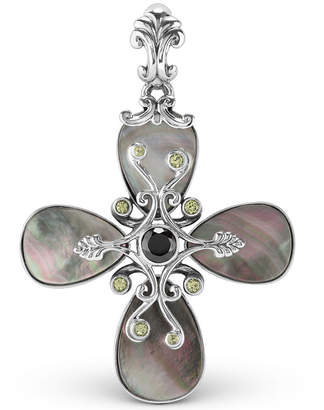 Mother of Pearl Carolyn Pollack Grey and Milti Gemstone Pendant Enhancer in Sterling Silver