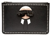 Fendi Karlito Fur-trimmed Leather Pouch