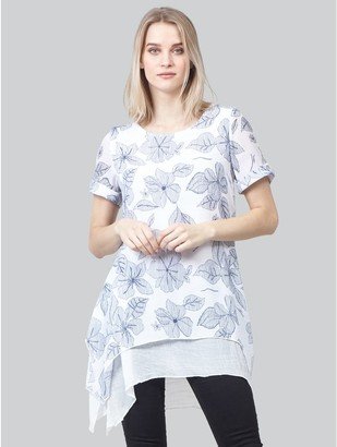 M&Co Izabel floral layered hem tunic top