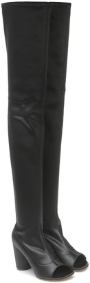 Vetements Cut-out over-the-knee leather boots