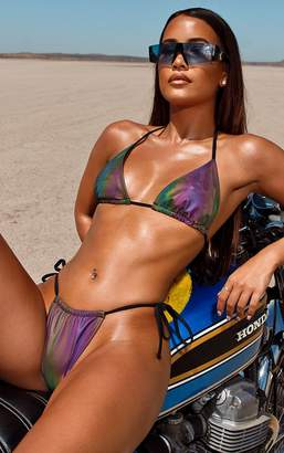 PrettyLittleThing Petrol Reflective Tie Side Bikini Bottom