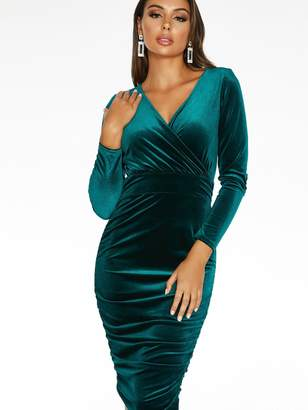 Quiz X Sam Faiers Long Sleeve Wrap Front Ruched Skirt Midi Dress - Emerald