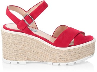 Prada Raffia & Suede Lug-Sole Wedge Sandals