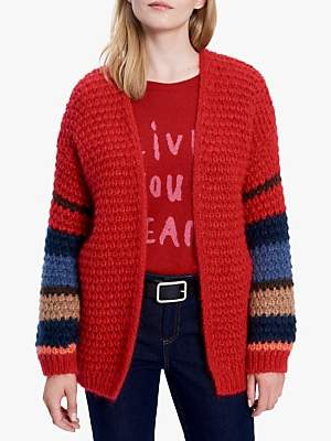 Gerard Darel Smart Stripe Cardigan, Red/Multi