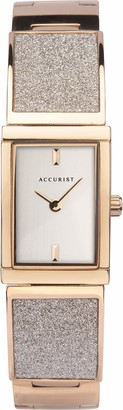 Accurist Womens Japanese Quartz Stainless Steel Semi-Bangle Watch Set With Crystal Dust Jewellery Type Clasp 30m Water Resistant 2 year guarantee.