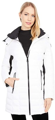 Calvin Klein Zip Front Packable with Hood (White) Women's Coat
