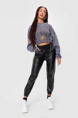 Nasty Gal Womens Jog My Mind Faux Leather Jogger trousers - Black - S, Black