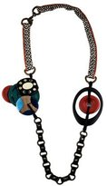 Lela Rose Wood, Resin and Horn Station Necklace