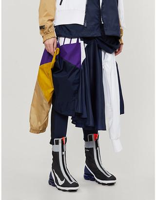 Nike X Sacai Asymmetrical shell panel midi skirt