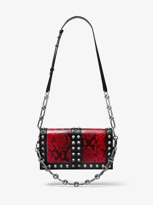 Michael Kors Courtney Studded Python Embossed Leather Shoulder Bag