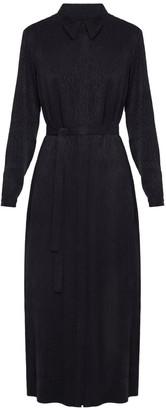 Undress Sanda Black Leopard Print Midi Shirt Dress