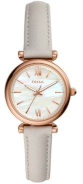 Fossil Women's mini Carlie rose tone off white leather strap