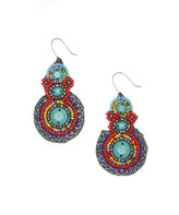 Zad ZAD Women's Earrings Turquoise - Teal & Silvertone Beaded Circle Drop Earrings