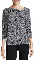 Liz Claiborne 3/4-Sleeve Print Knit Blouse - Petite