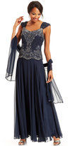 J Kara Beaded Bodice Chiffon Gown and Scarf
