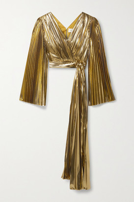 Semsem Cropped Wrap-effect Pleated Lame Top - Gold