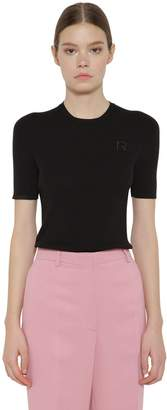 Rochas Wool Rib Knit Short Sleeve Sweater