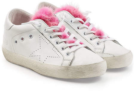 Golden Goose Super Star Leather Sneakers with Fur