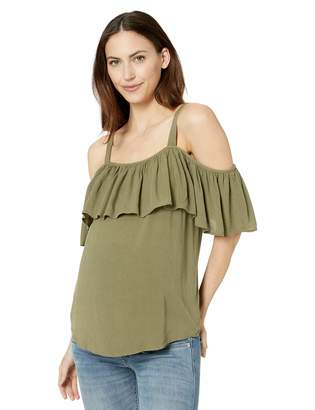 Ripe Maternity Women's Maternity Crinkle Off Shoulder Frill Top