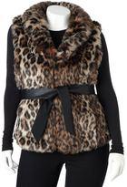 Excelled Plus Size Excelled Leopard Faux-Fur Vest