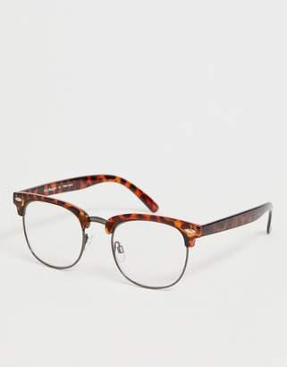 A. J. Morgan Aj Morgan AJ Morgan retro clear lens glasses in tort-Brown
