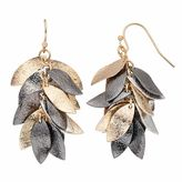 Apt. 9 Tri Tone Textured Leaf Cluster Drop Earrings