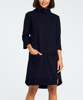 Bewear BeWear Women's Casual Dresses navy - Navy Blue Turtleneck Shift Dress - Women
